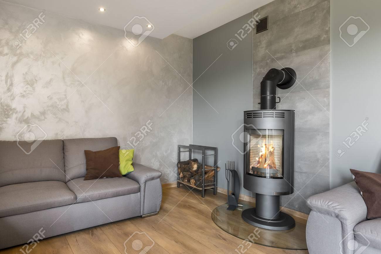 Salon gris avec canapé, cheminée en style industriel, panneaux de sol en  bois et finition murale décorative