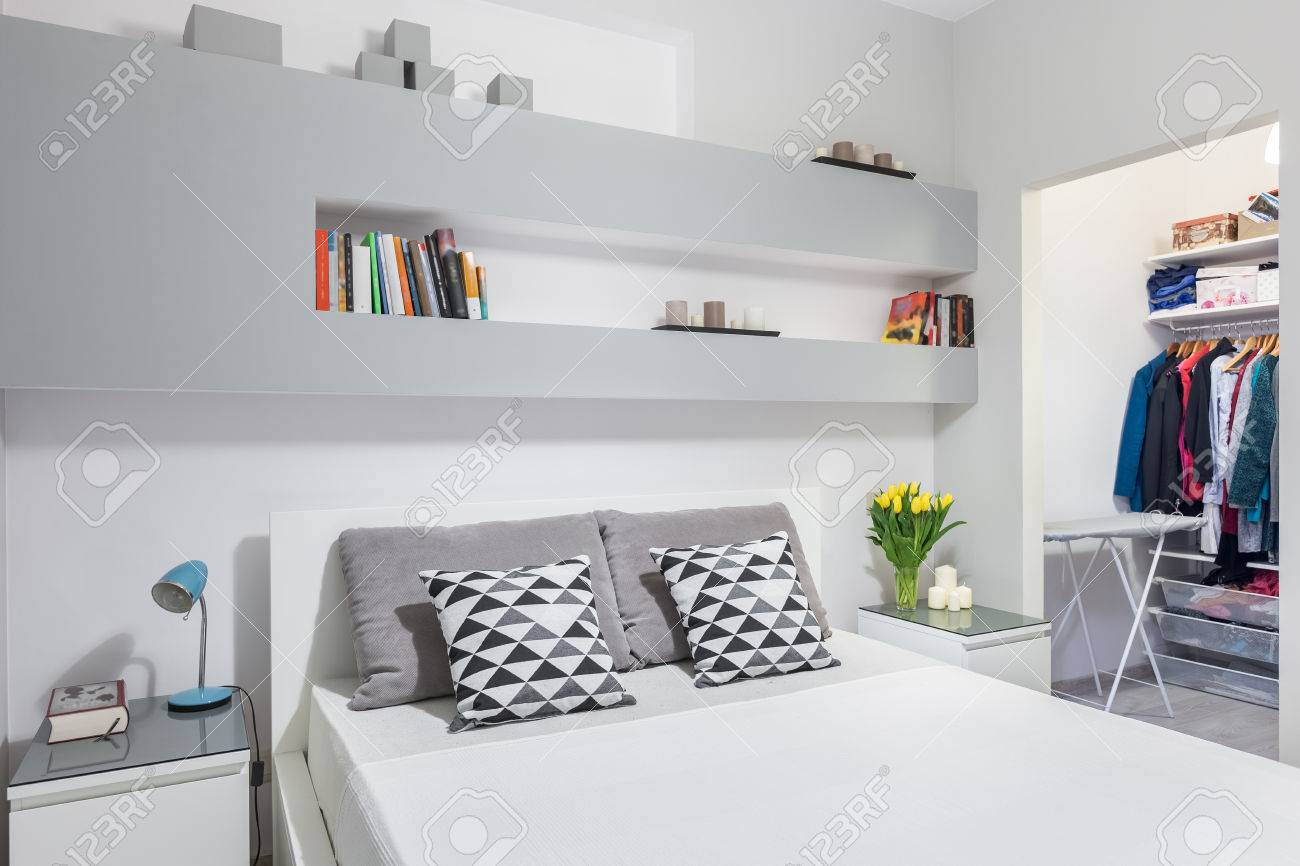 Modern Functional Bedroom With Double Bed And Walk In Wardrobe Stock Photo Picture And Royalty Free Image Image 63530792