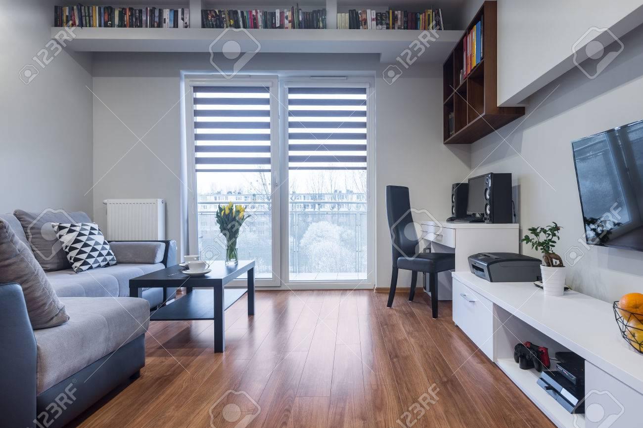 Neues Design Home Interior Mit Fenster Tv Großes Sofa Und Weiße