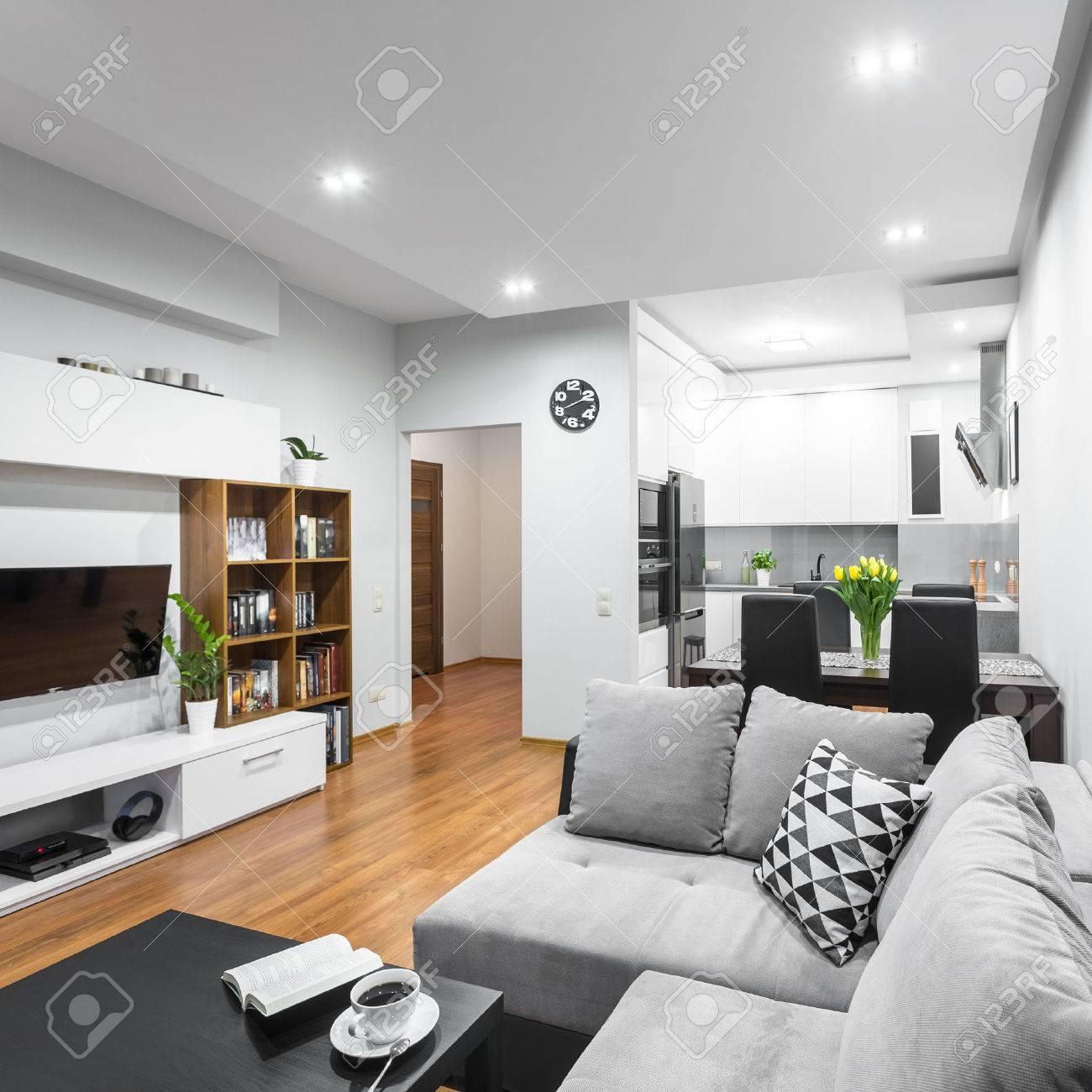 Luminoso y espacioso apartamento en el nuevo estilo con un sofá grande,  juego de comedor y cocina abierta