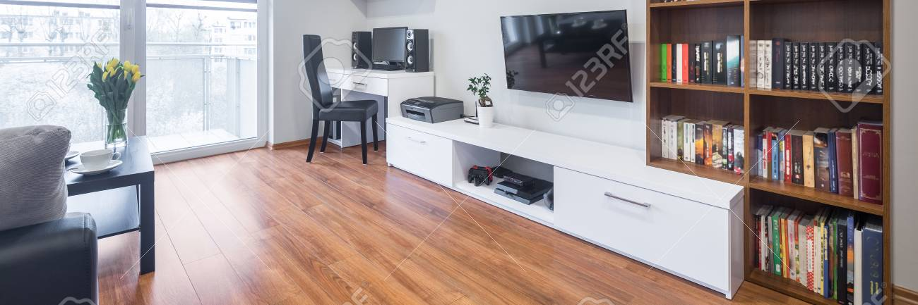 Panorama Tv Meubel.Light And Spacious Living Room With Window Tv Bookshelves