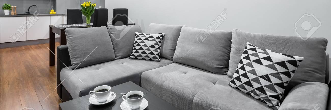 Panorama De La Sala De Estar De Nuevo Estilo Con Gran Sofá Y Mesa De ...