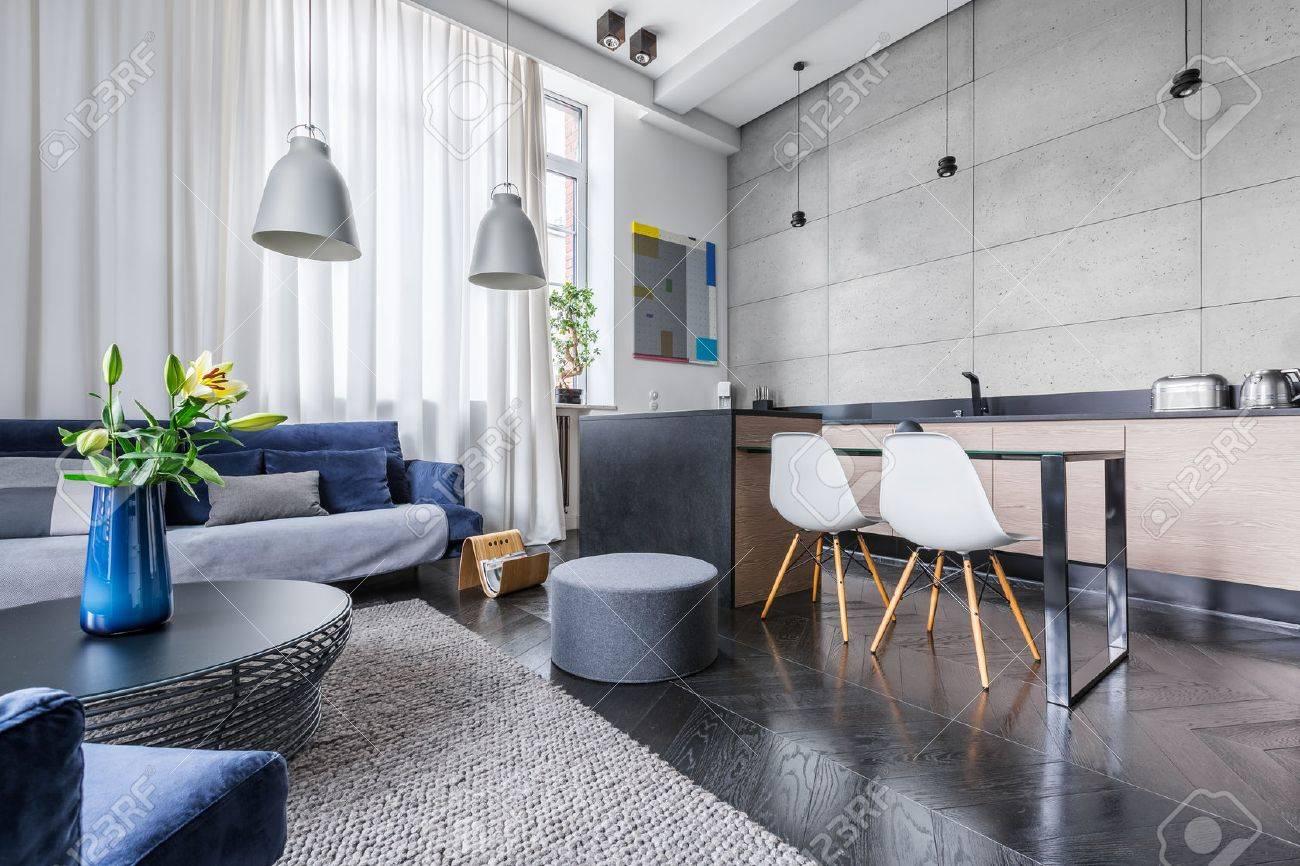 appartement moderne avec cuisine et salon combins banque dimages 69566051