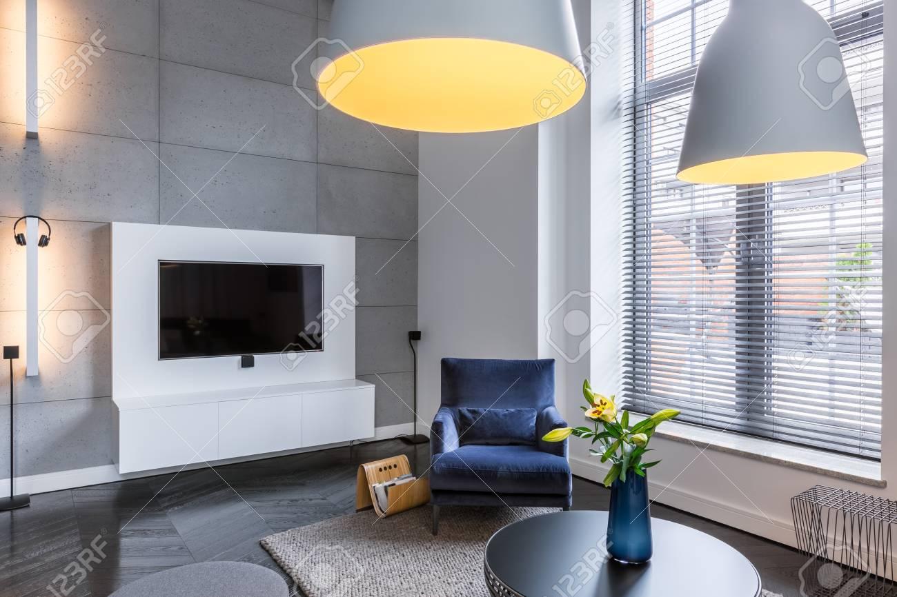 Tv In De Woonkamer Met Blauwe Fauteuil En Industriële Hanglamp ...
