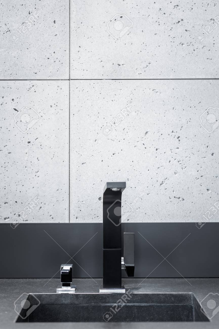 Black Kitchen Worktop Sink With Modern Tap And Grey Wall Tiles Stock Photo Picture And Royalty Free Image Image 69572002