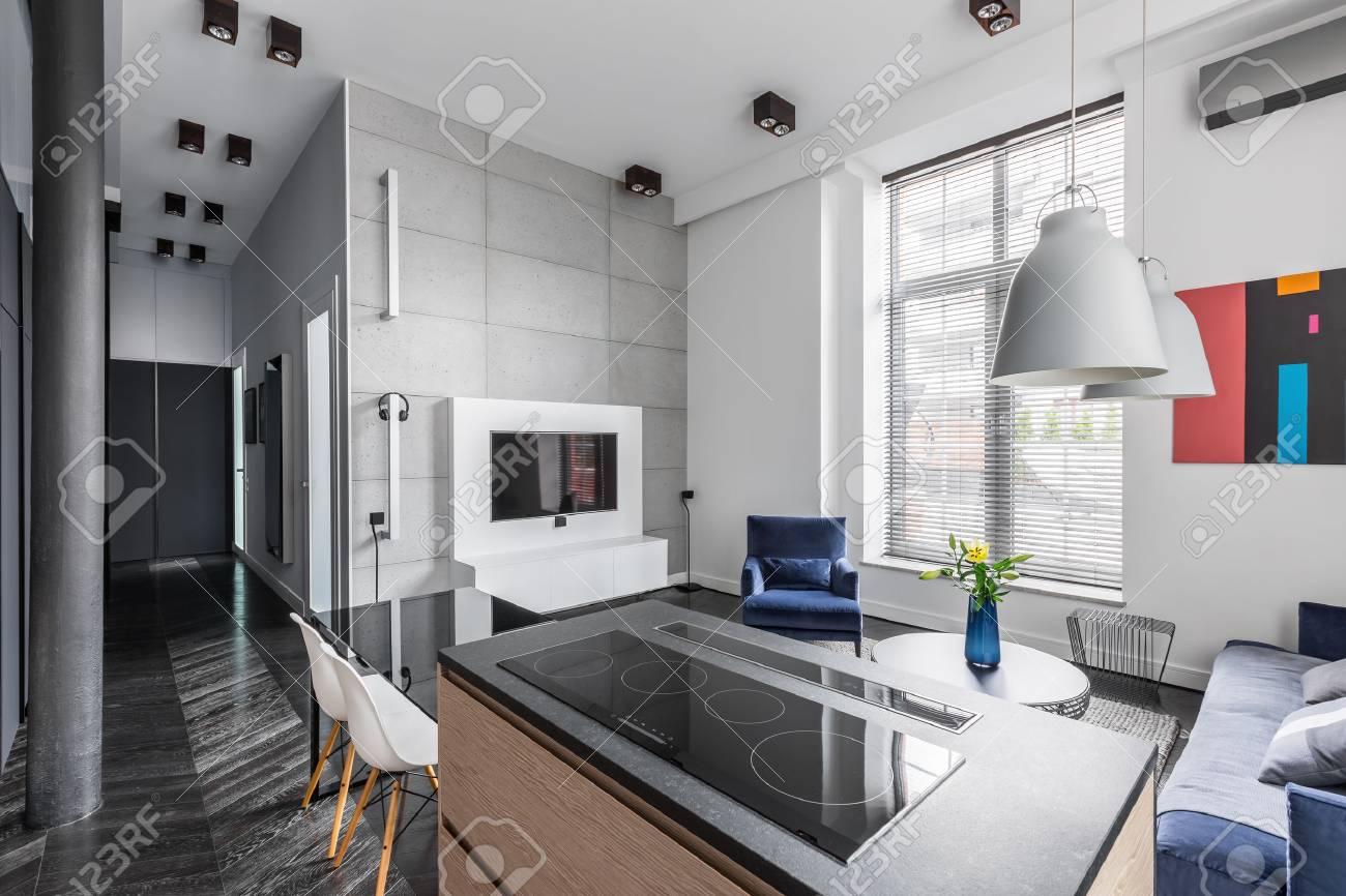 Bel appartement design avec carreaux de mur gris, plan de travail,  télévision et stores