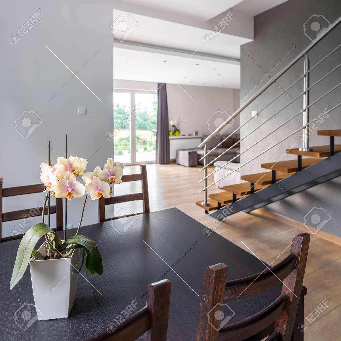 Intérieur de la maison avec table et chaises, dans les escaliers de fond et  salon ouvert