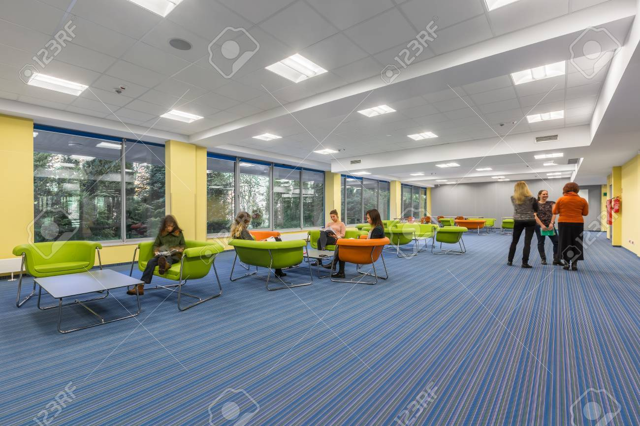 Spacious university interior with lounge area in modern style