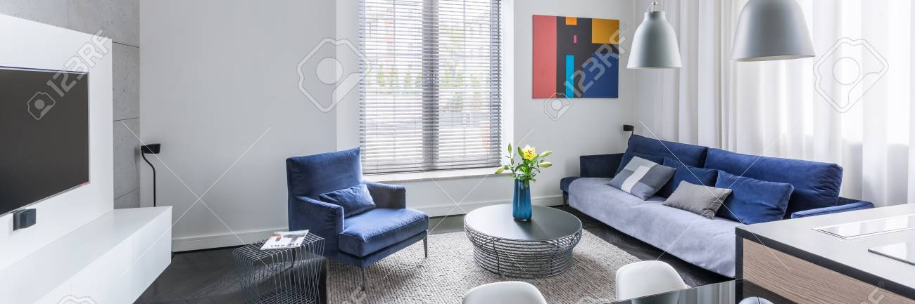 Panorama Tv Meubel.Panorama Of Stylish Design Living Room With Tv And Blue Furniture