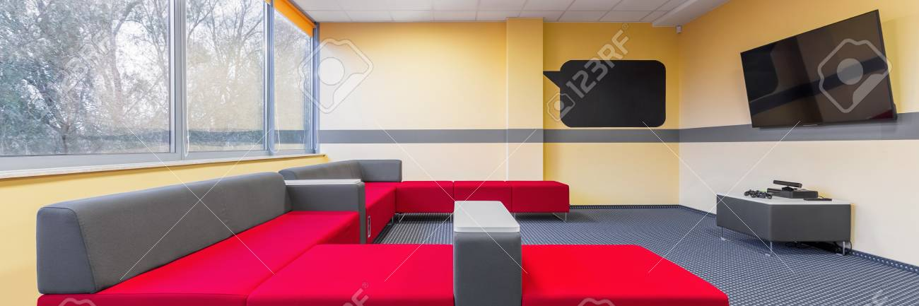 Panorama Of Modern University Tv Room For Students To Relax With ...