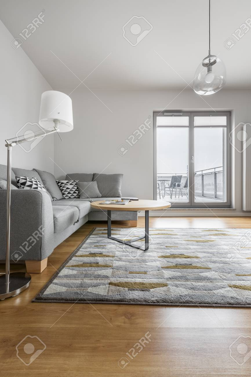 Grey And White Luxury Living Room With Sofa, Lamp, Carpet, Round ...