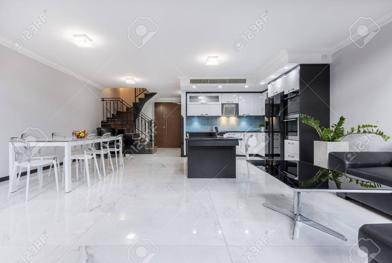 Modern, White, Open Plan Apartment With Gloss Flooring, Table ...