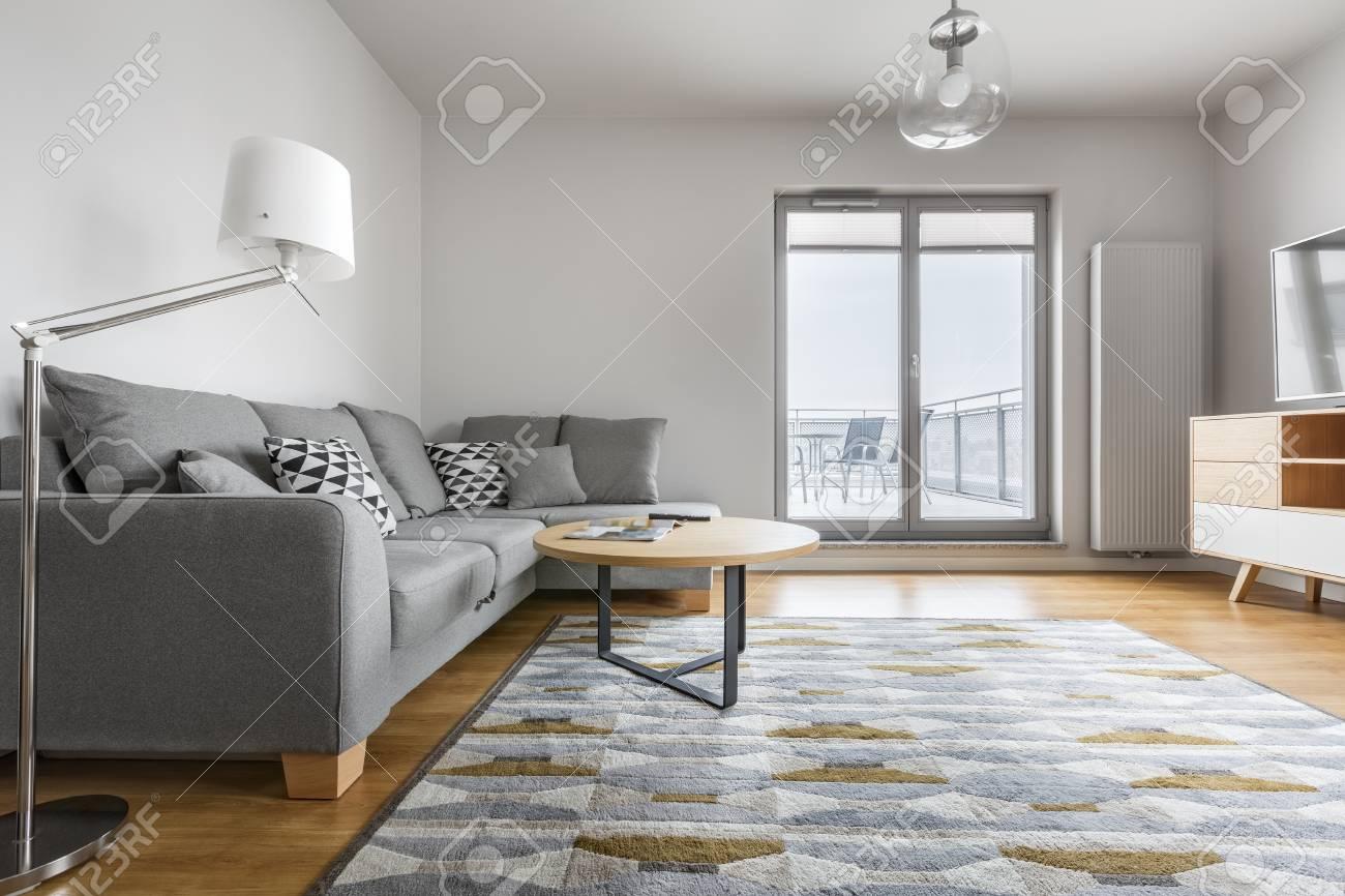 Salon Moderne Gris Et Blanc Avec Un Canape Elegant Tapis Lampe