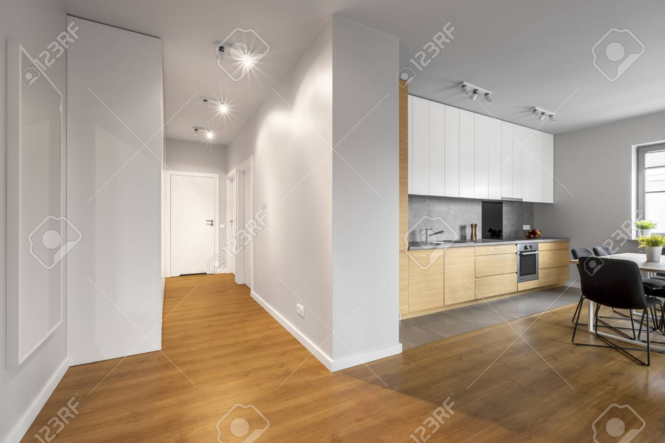 Moderne Helle Und Geraumige Wohnung Mit Weissen Wanden Und