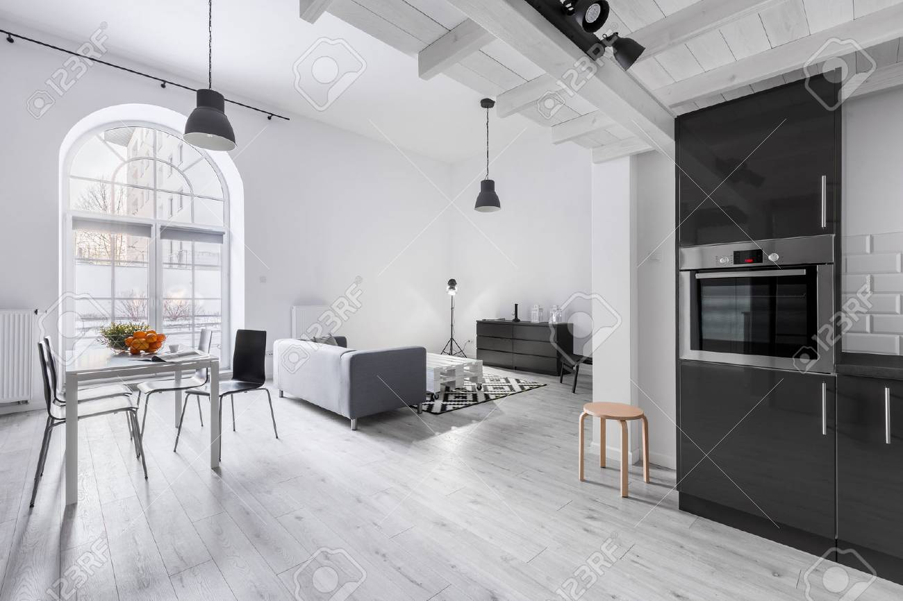 Modern apartment in industrial style with kitchen and open living..