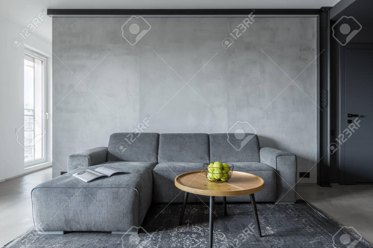 Salon Avec Canapé Gris Et Table Basse Ronde Banque Dimages Et