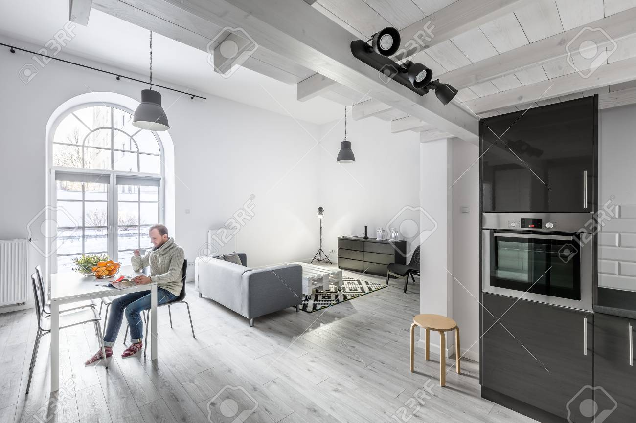 Modern Open Plan Apartment With Kitchen Living Room And Dining Stock Photo Picture Royalty Free Image 81421316