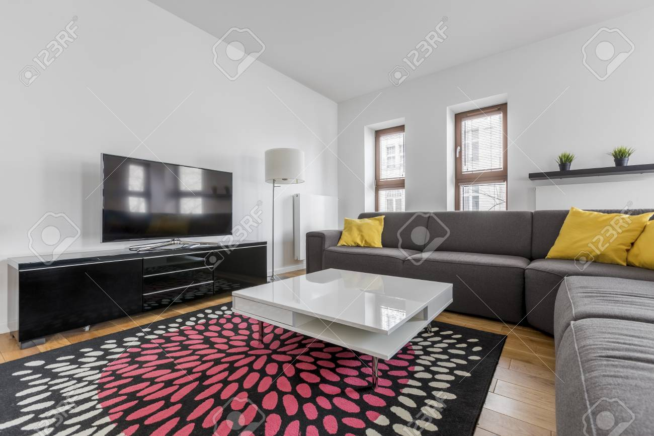 Modern Living Room With Extra Large Sofa And Tv Stock Photo Picture And Royalty Free Image Image 81037679