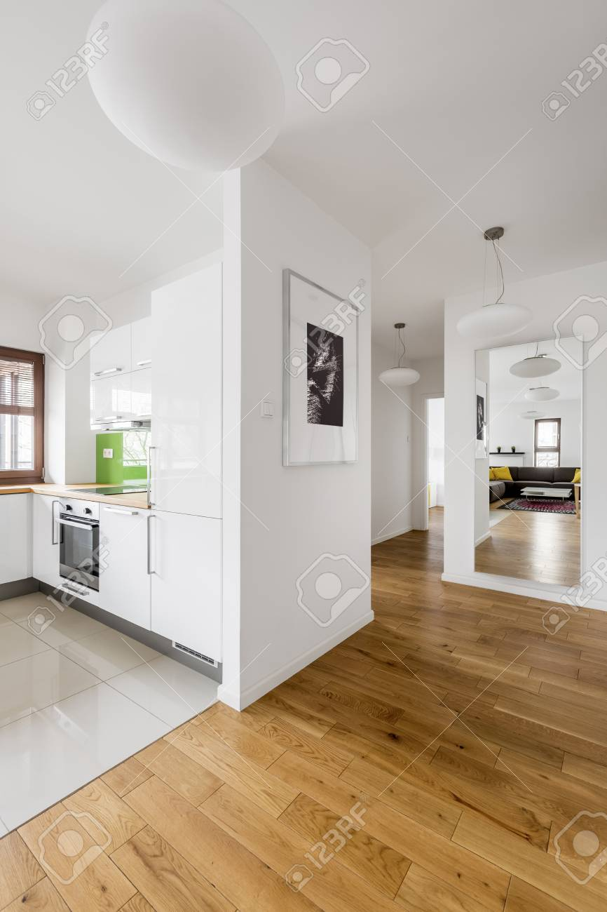 Modern, White Apartment With Kitchen, Living Room, Corridor And ...