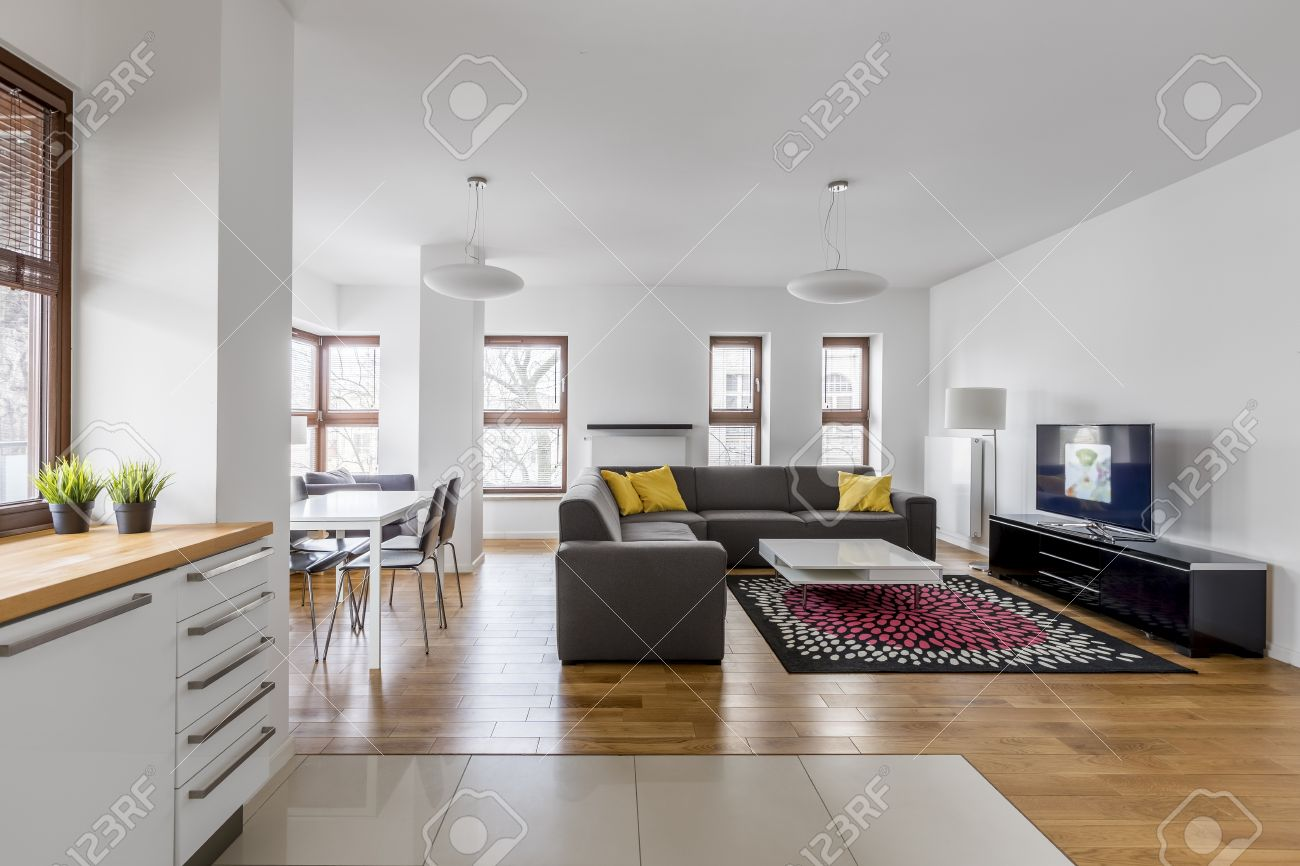 Modern Apartment With Open Living Room And Kitchenette Stock Photo