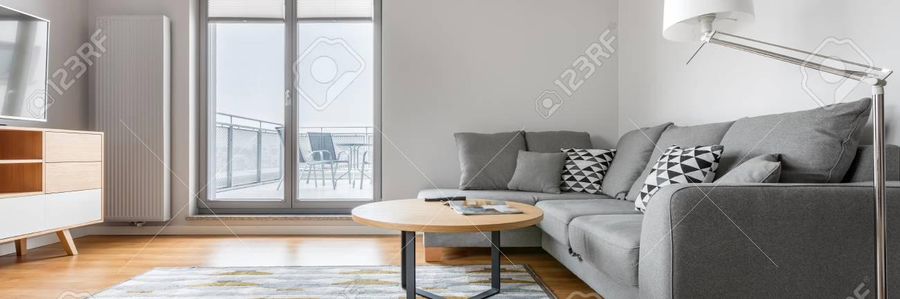 Modernes Graues Und Weißes Wohnzimmer Mit Sofa Teppich Lampe