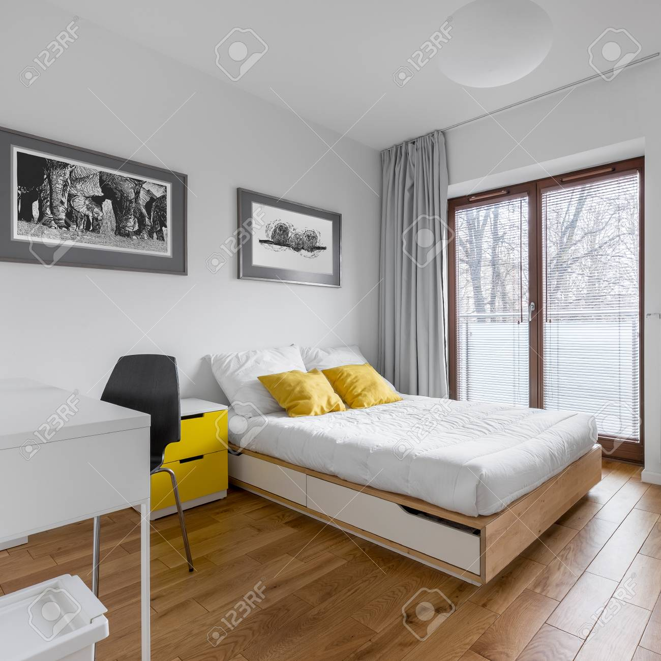 White Multifunctional Bedroom With Desk Double Bed And Big