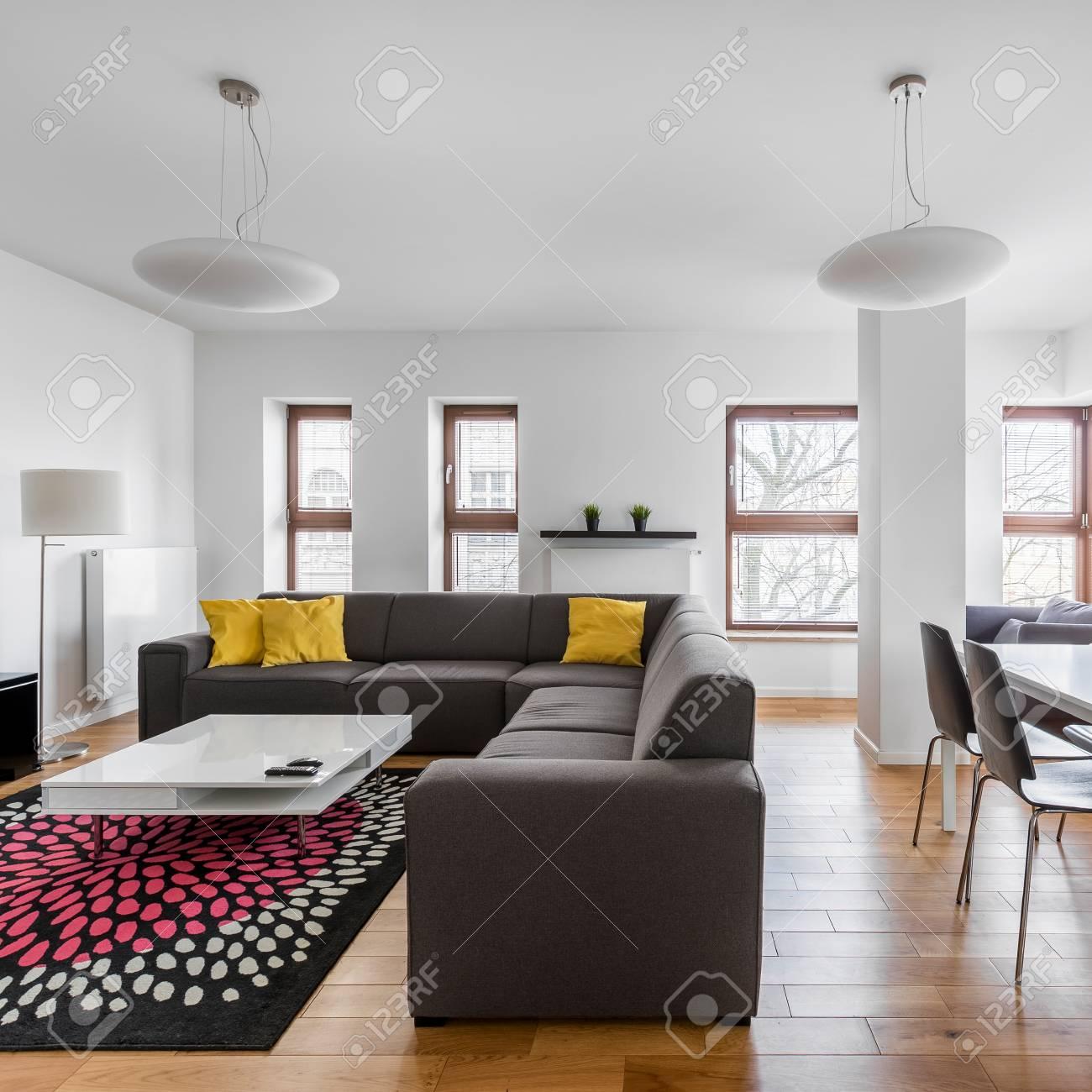 Salon moderne avec canapé et table gris