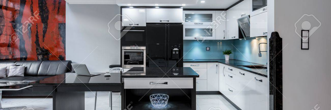 Modern Open Kitchen Space With Leather Sofa In Luxury Apartment ...