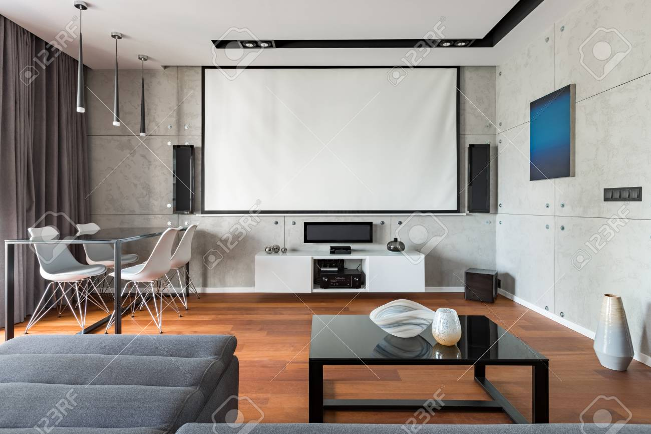 Home Interior With Projector Screen, Table, Chairs And Cabinet Stock ...