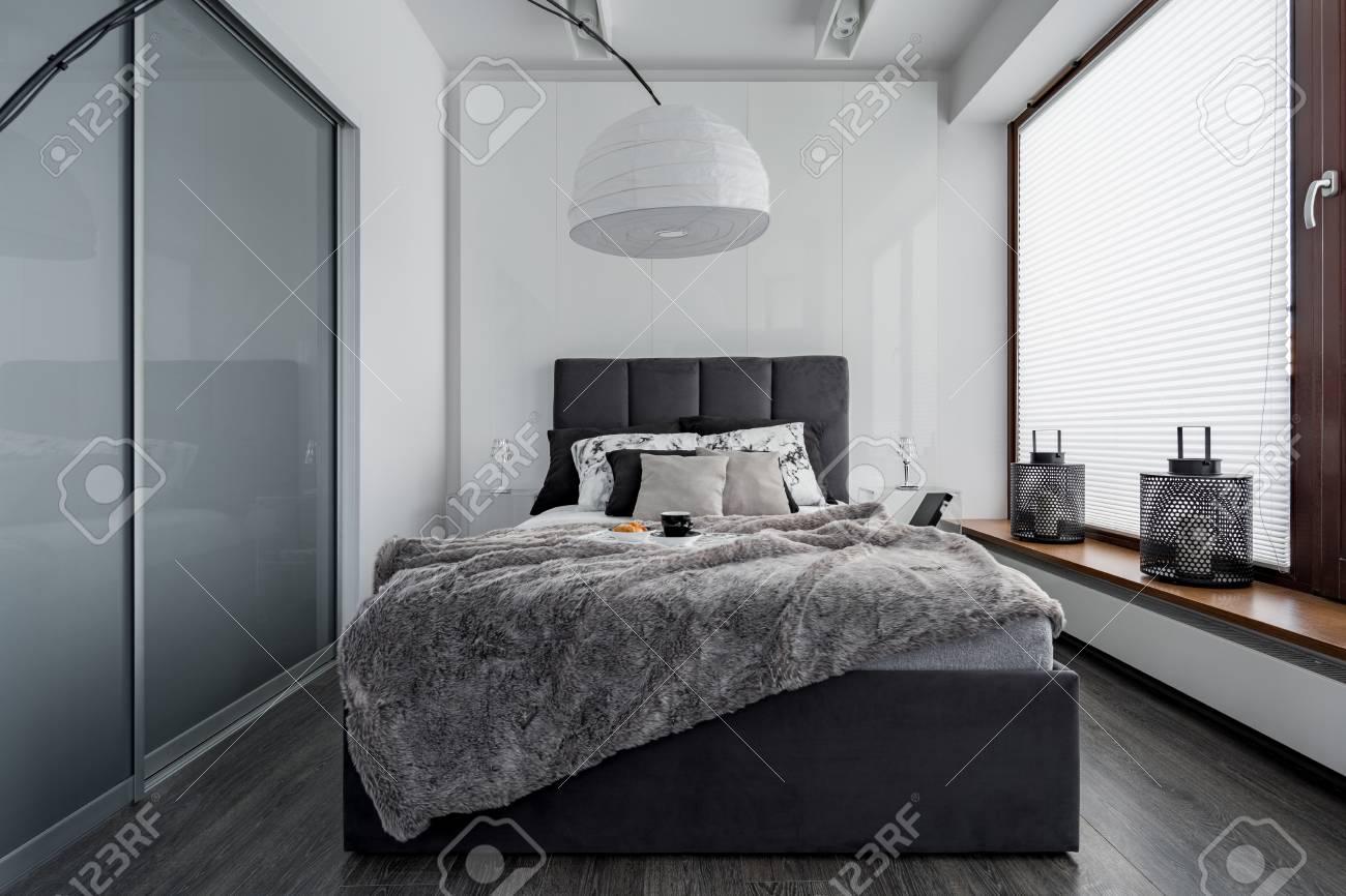 Chambre Gris Et Blanc Avec Lit Double, Lampe Moderne Et Armoire à ...