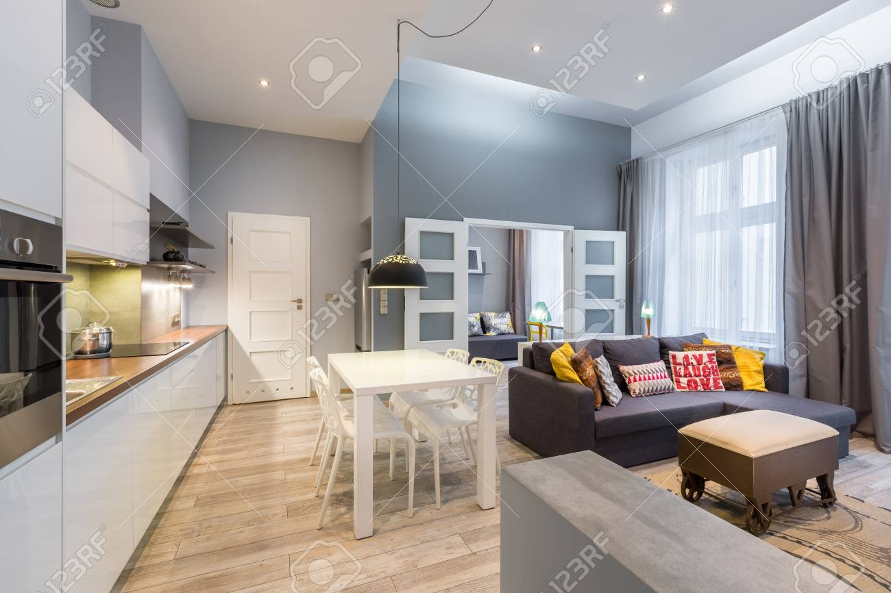 Contemporary apartment with dining table, open kitchen and living..