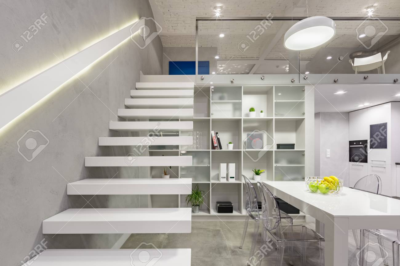 Loft Apartment With White, Modern, Mezzanine Stairs With Led.. Stock ...