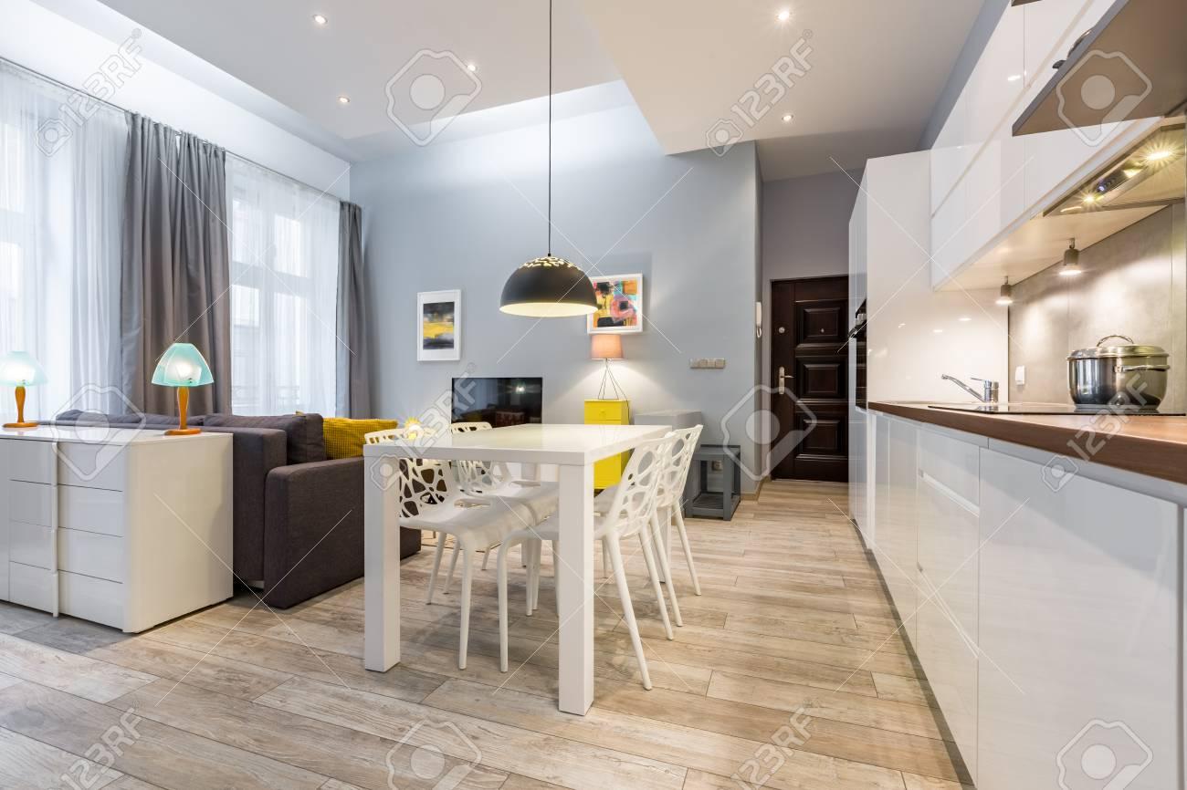 Modernes Studio Mit Offener Küche Zum Wohnzimmer Lizenzfreie Fotos