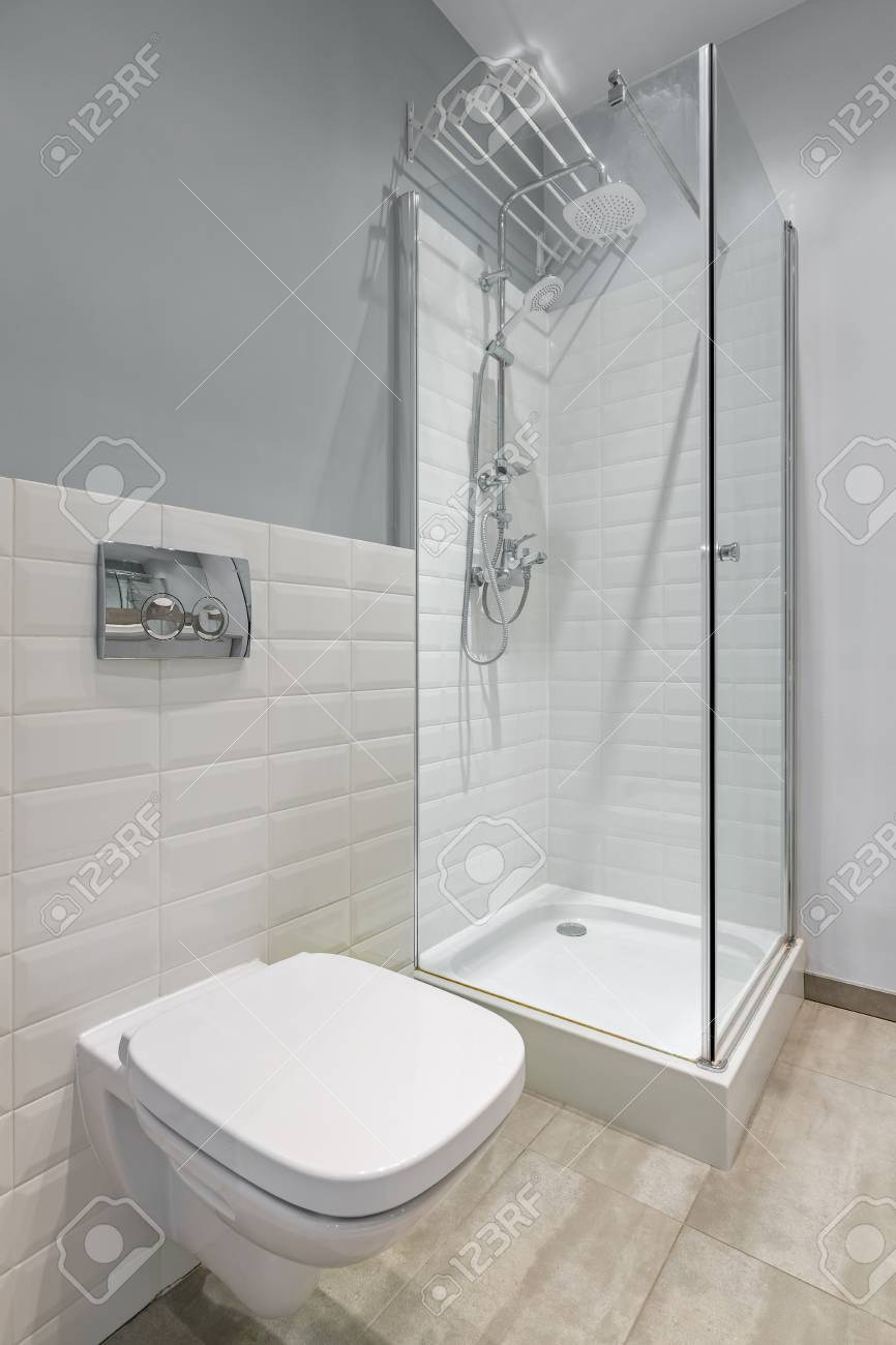 Gray And White Bathroom With Toilet, Shower And Modern Brick.. Stock ...