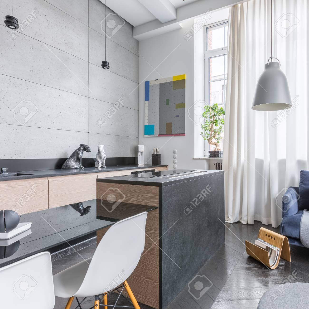 Funktionelle Loft Interieur Mit Küche Und Wohnzimmer Lizenzfreie ...