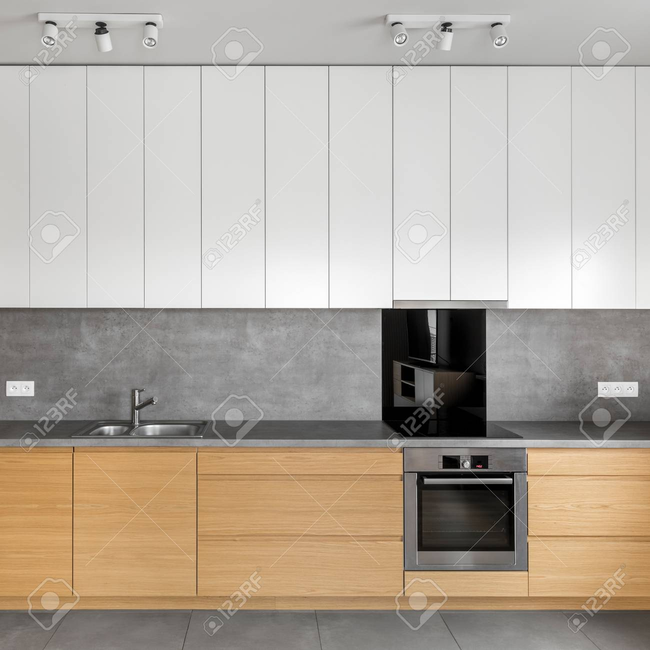 - Grey Kitchen With Wooden Cabinets, Granite Worktop And White