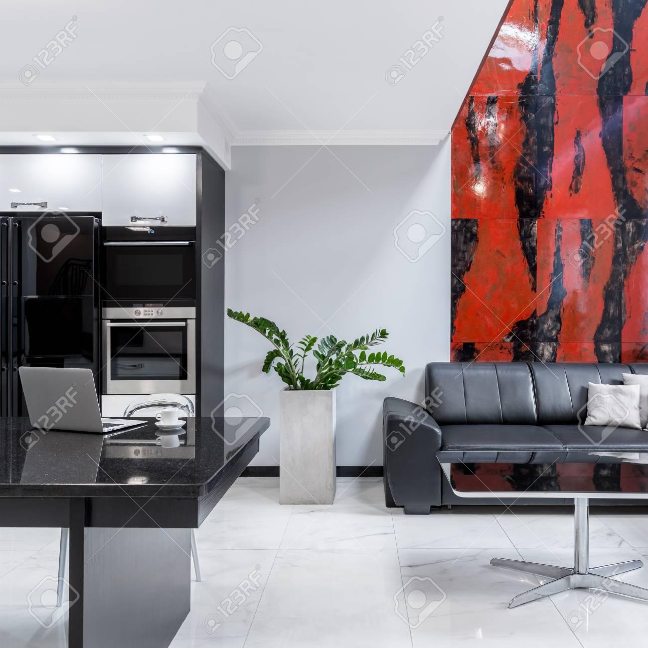 Maison moderne en noir et blanc avec salon ouvert à la cuisine