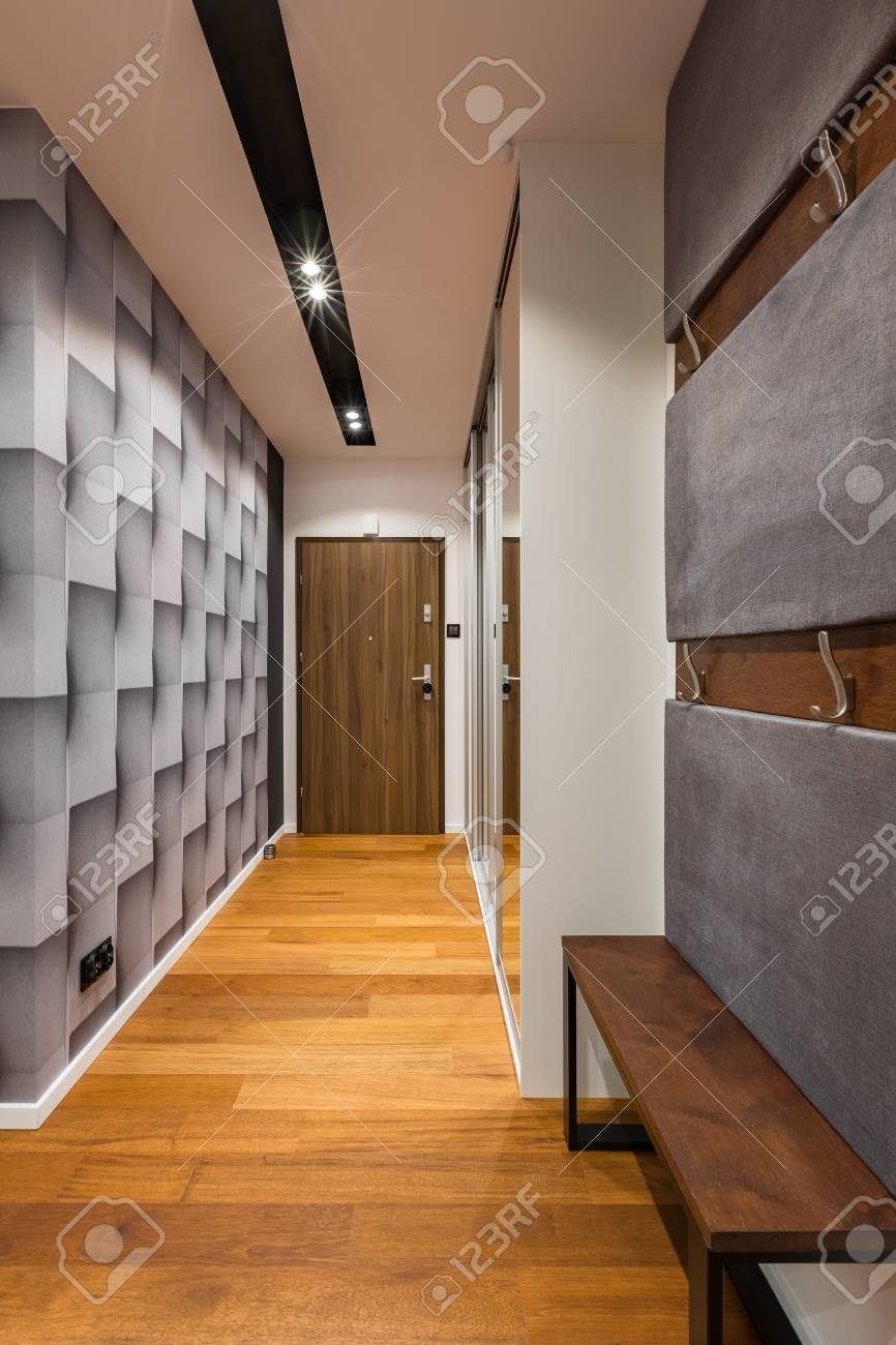 91344755 entryway with modern 3d wallpaper and ceiling lighting
