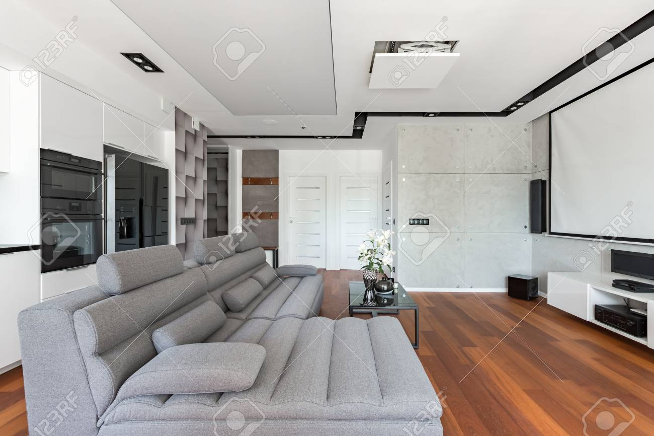 Modern Living Room With Projector Screen, Sofa And Kitchenette Stock ...