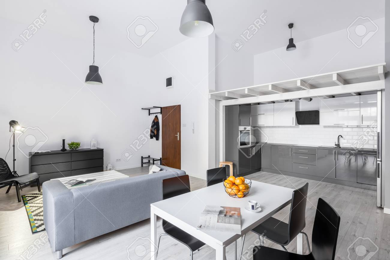 Open Space Loft Apartment With Living Room, Kitchen And Mezzanine ...