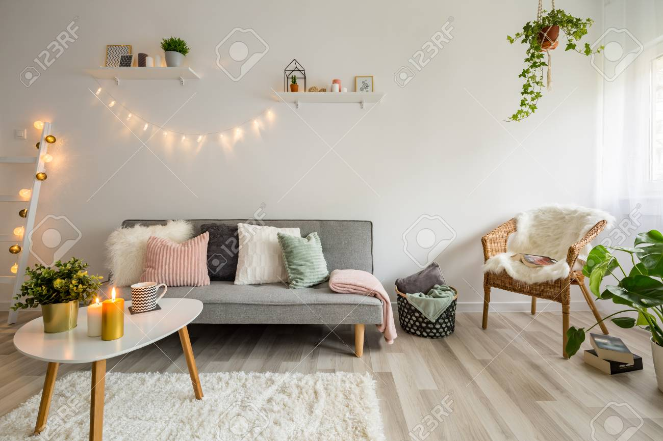 Sofa Coffee Table And Wicker Chair In Living Room Styled Scandinavian Stock Photo Picture And Royalty Free Image Image 92236929
