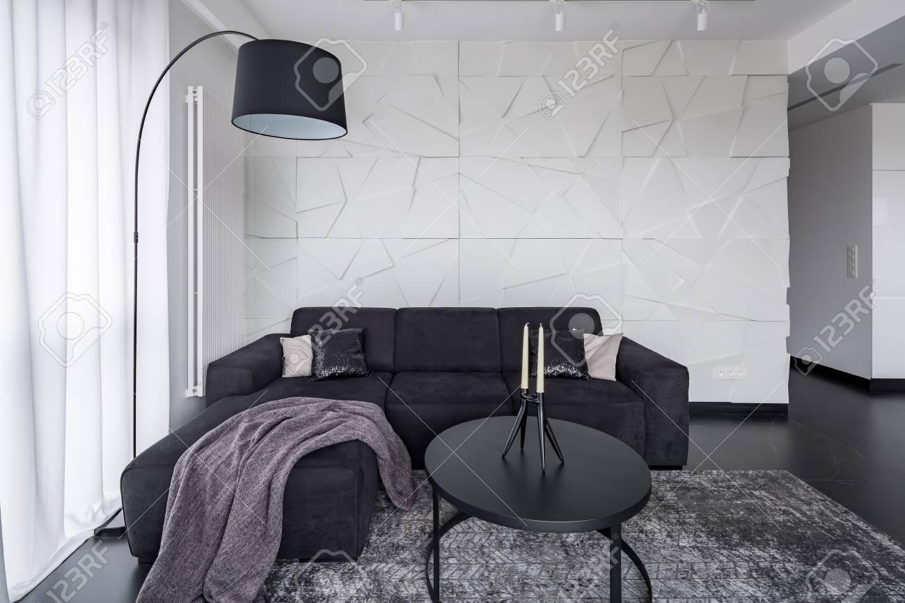 Black Corner Sofa, Coffee Table And Arc Floor Lamp In Modern.. Stock ...