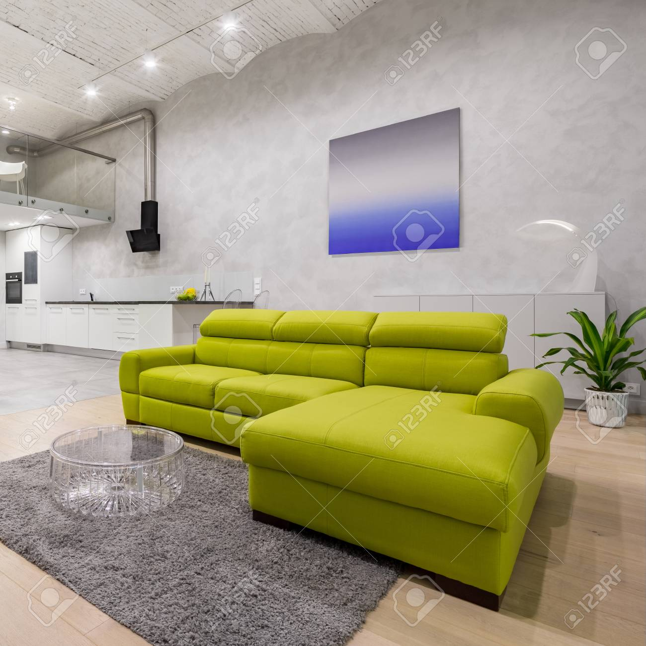 Loft apartment with modern green sofa and brick ceiling