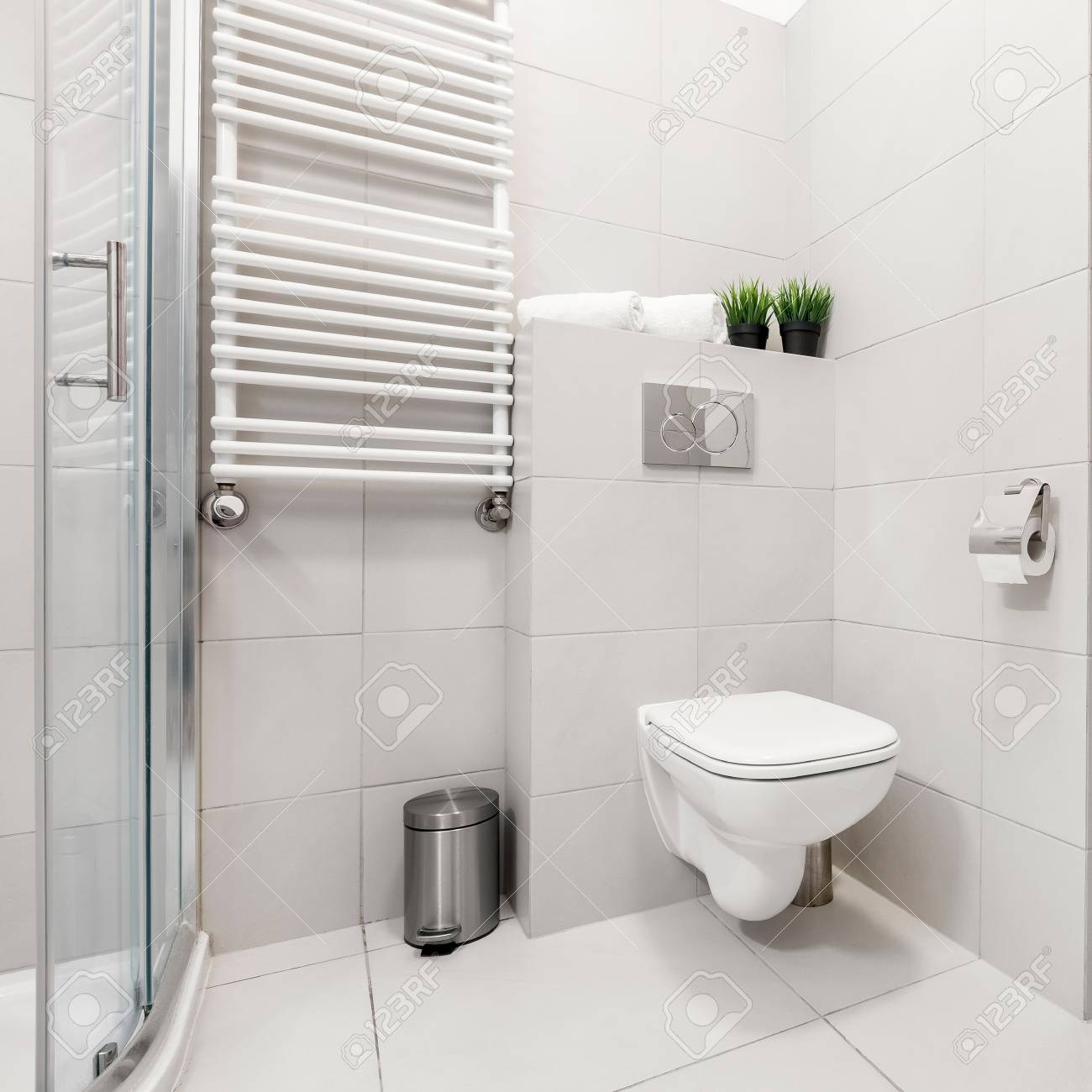 Modern, Gray Bathroom With Washer, Shower And Toilet Stock Photo ...