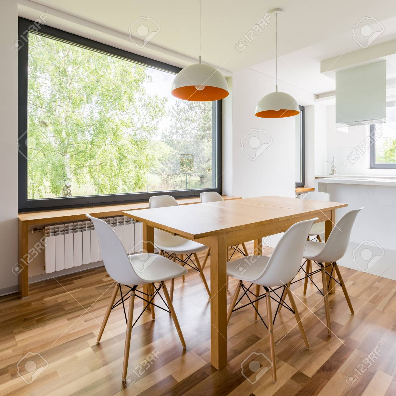 Square Frame Of Interior With Wooden Dining Table White Chairs Stock Photo Picture And Royalty Free Image Image 98909552