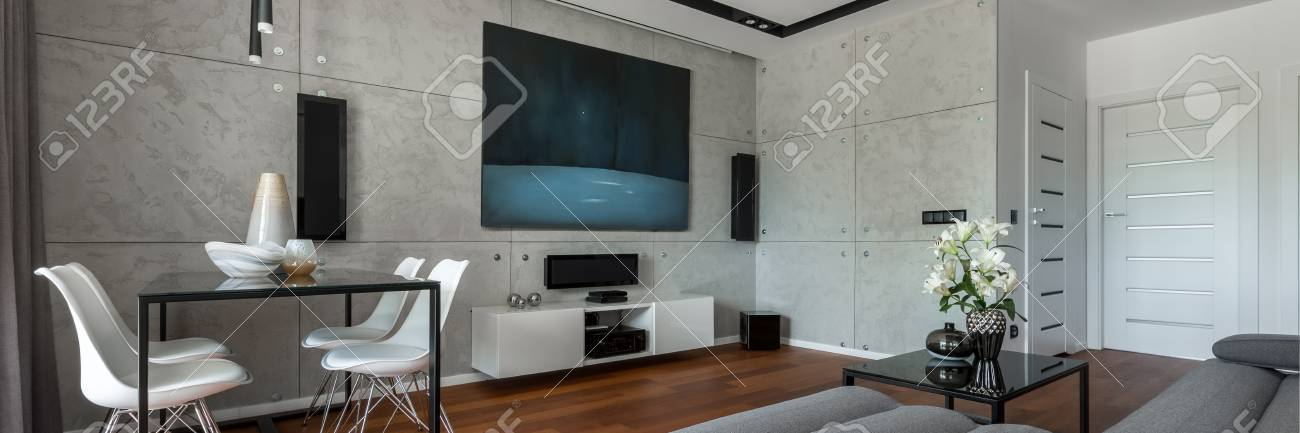 Fantastic Home Interior With Dining Table Sofa Cement Wall And Modern Interior Design Ideas Gentotthenellocom