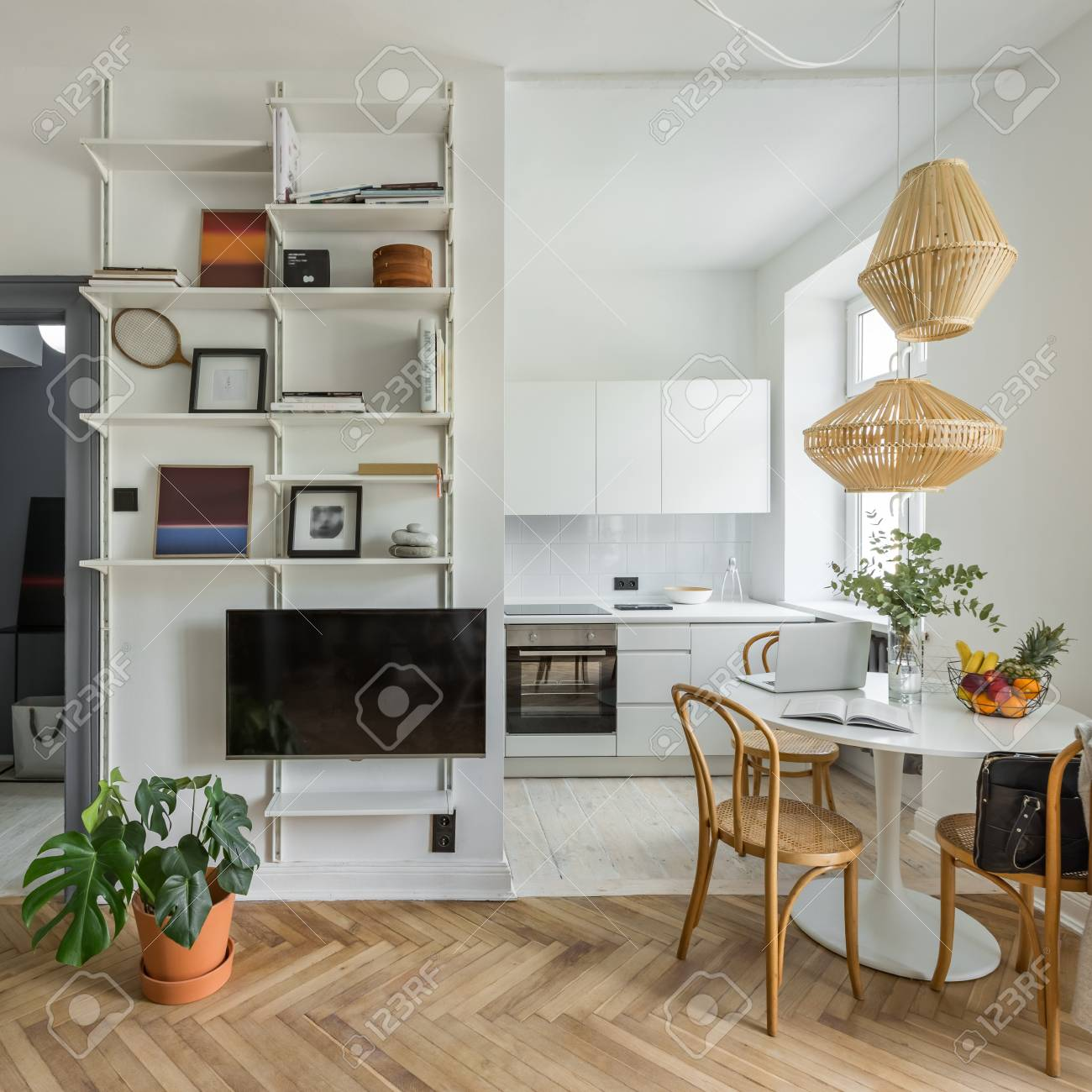 Cozy Apartment In Scandinavian Style With Open Kitchen Stock Photo Picture And Royalty Free Image Image 103268223