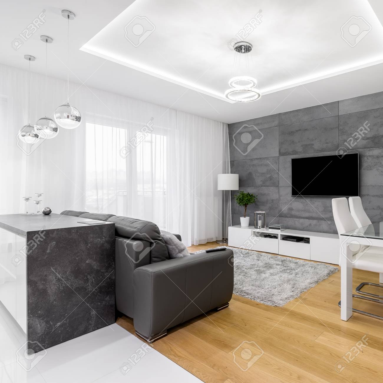 Gray And White, Modern Apartment With Sofa, Tv, Cabinet And Lamps ...