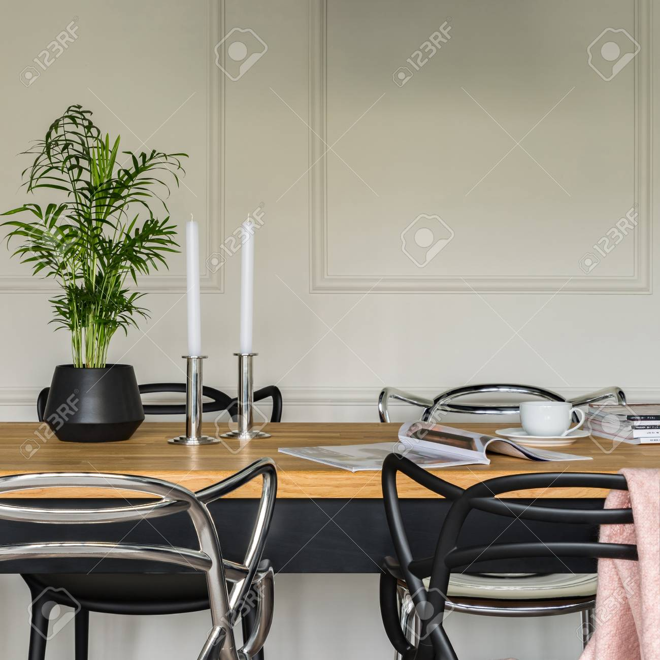 Swell Wooden Dining Table With Modern Black And Silver Chairs Machost Co Dining Chair Design Ideas Machostcouk