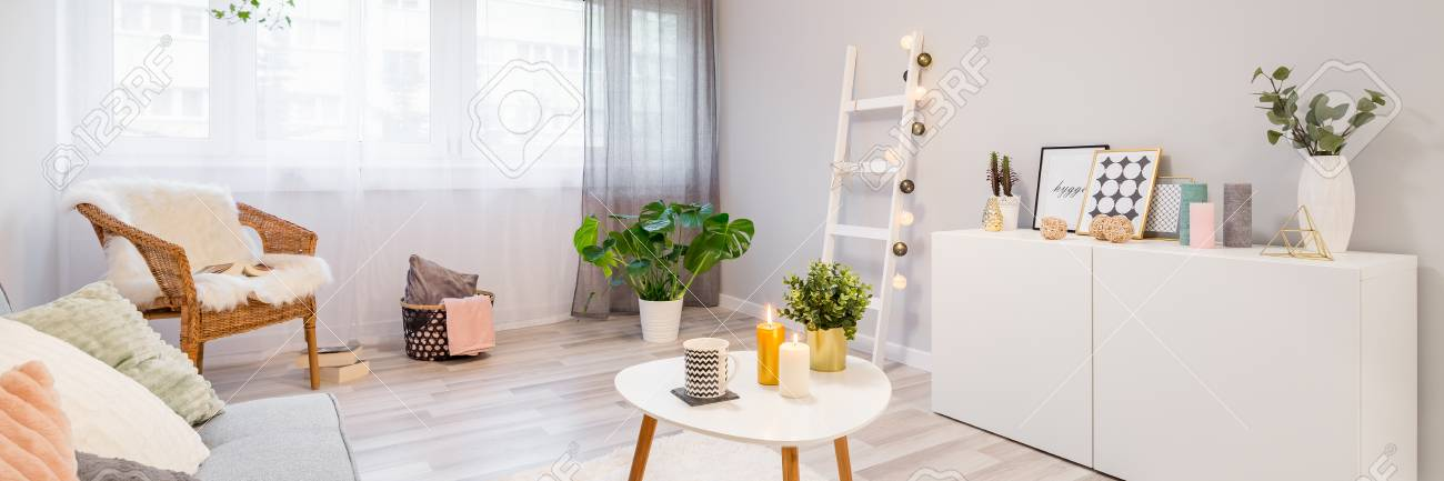 Pillows, frames, candles and plants decorating modern scandinavian..